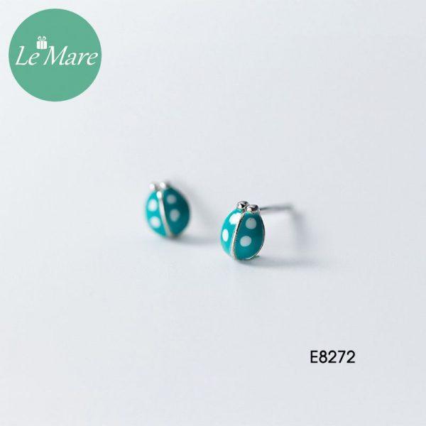 Khuyên tai bạc thời trang chú bọ xanh ngọc bích Le'mare Jewelry E8272 1
