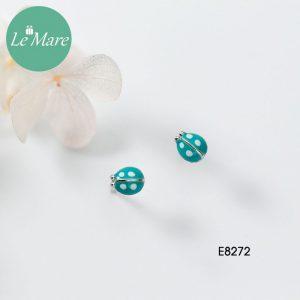 Khuyên tai bạc thời trang chú bọ xanh ngọc bích Le'mare Jewelry E8272 4
