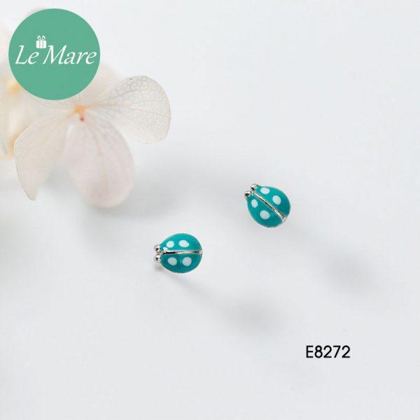 Khuyên tai bạc thời trang chú bọ xanh ngọc bích Le'mare Jewelry E8272 2