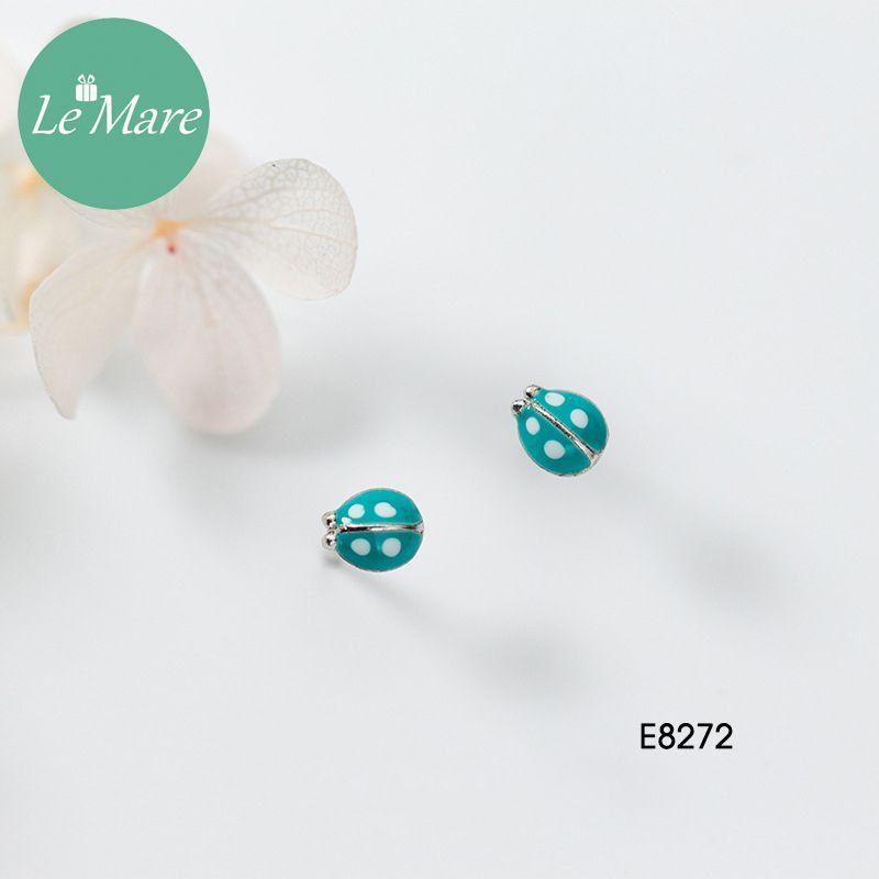 Khuyên tai bạc thời trang chú bọ xanh ngọc bích Le'mare Jewelry E8272 7