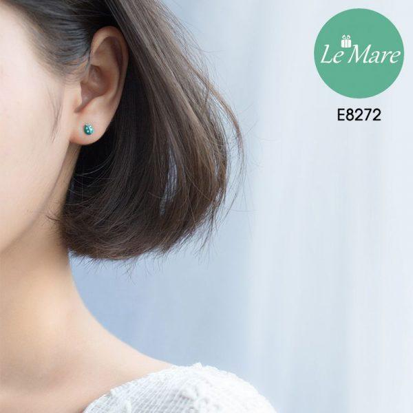 Khuyên tai bạc thời trang chú bọ xanh ngọc bích Le'mare Jewelry E8272 3