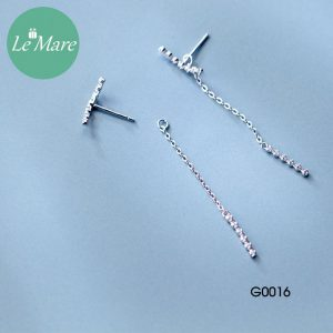 Khuyên tai bạc thời trang dây Le'mare Jewelry G0016 5