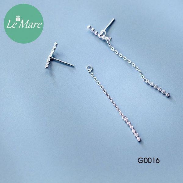 Khuyên tai bạc thời trang dây Le'mare Jewelry G0016 2