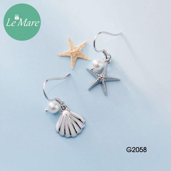 Khuyên tai bạc thời trang Sao biển, vỏ sò Le'mare Jewelry G2058 1