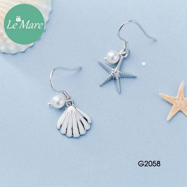 Khuyên tai bạc thời trang Sao biển, vỏ sò Le'mare Jewelry G2058 2