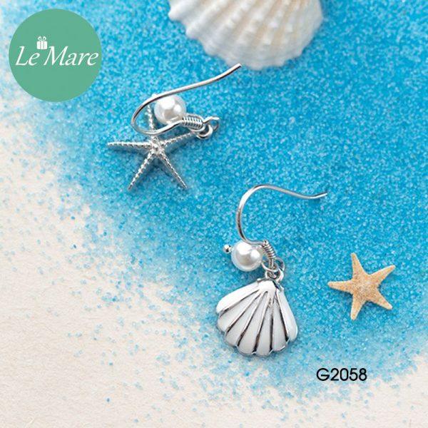 Khuyên tai bạc thời trang Sao biển, vỏ sò Le'mare Jewelry G2058 3