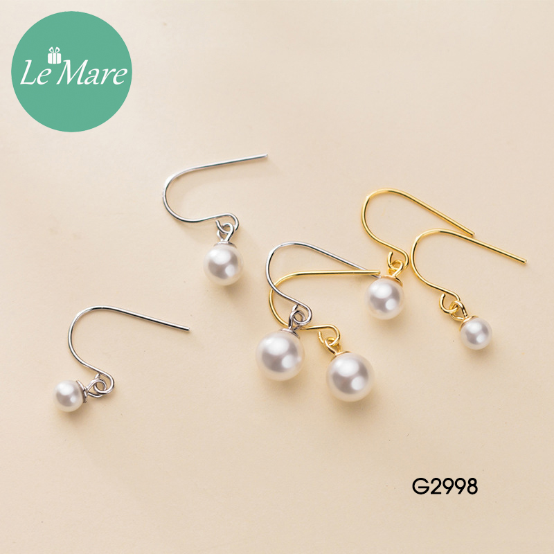 Khuyên tai bạc thời trang dạng móc đính ngọc trai nhân tạo Le'mare Jewelry G2998 8