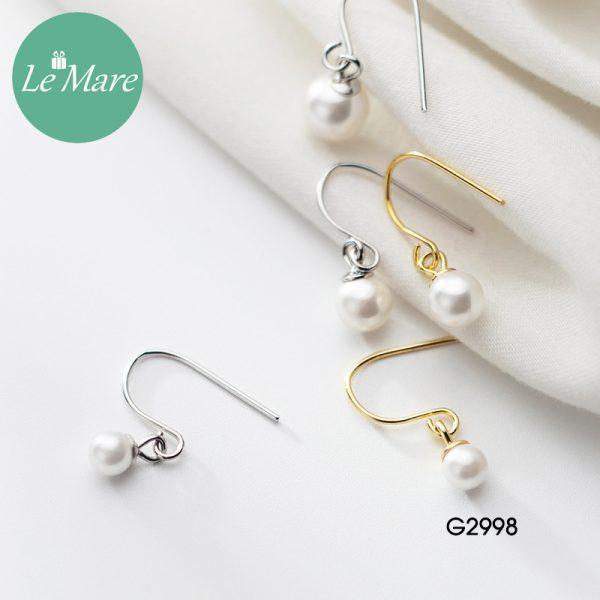 Khuyên tai bạc thời trang dạng móc đính ngọc trai nhân tạo Le'mare Jewelry G2998 2