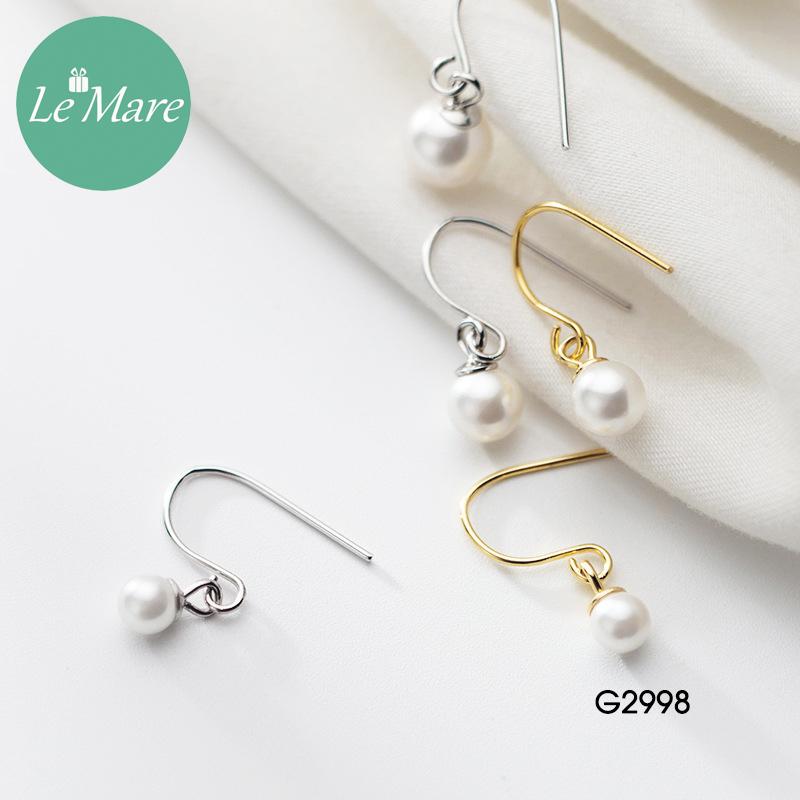 Khuyên tai bạc thời trang dạng móc đính ngọc trai nhân tạo Le'mare Jewelry G2998 9