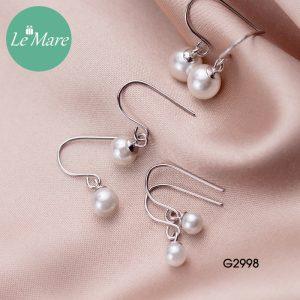 Khuyên tai bạc thời trang dạng móc đính ngọc trai nhân tạo Le'mare Jewelry G2998 6