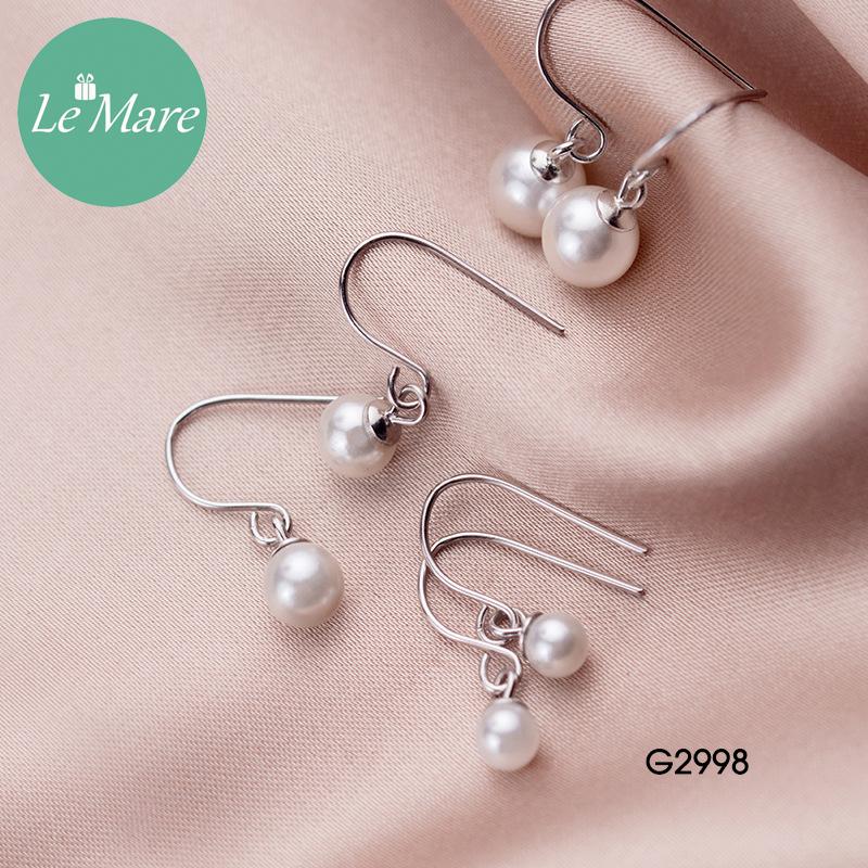 Khuyên tai bạc thời trang dạng móc đính ngọc trai nhân tạo Le'mare Jewelry G2998 10
