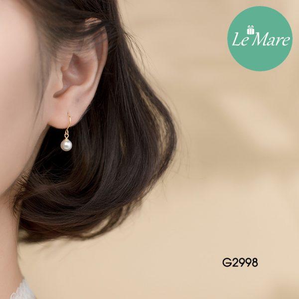 Khuyên tai bạc thời trang dạng móc đính ngọc trai nhân tạo Le'mare Jewelry G2998 4