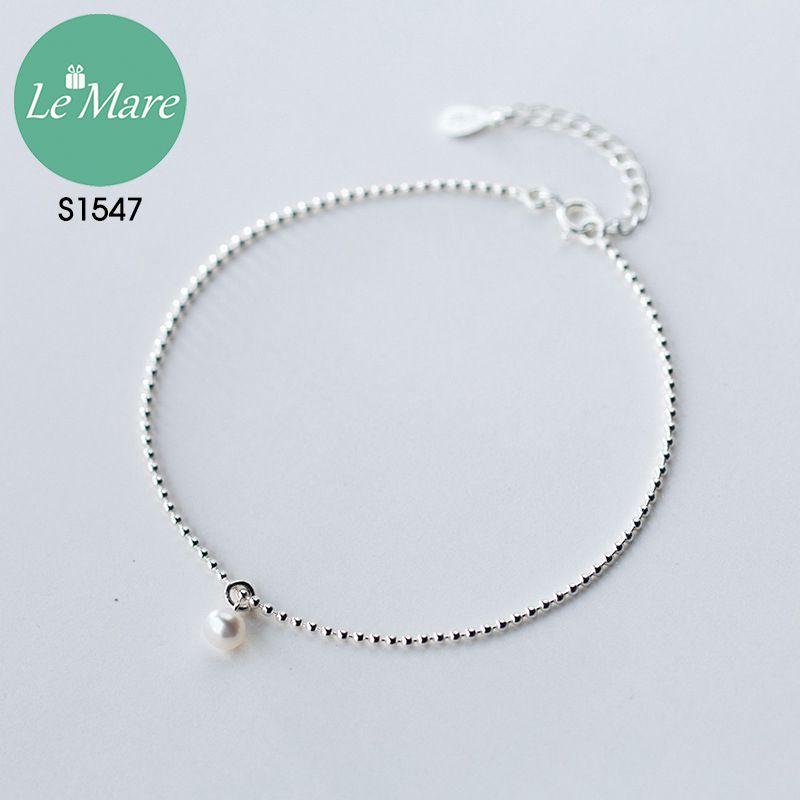 Lắc chân bạc thời trang Đốt bi nhỏ đính ngọc Le'mare Jewelry S1547 8