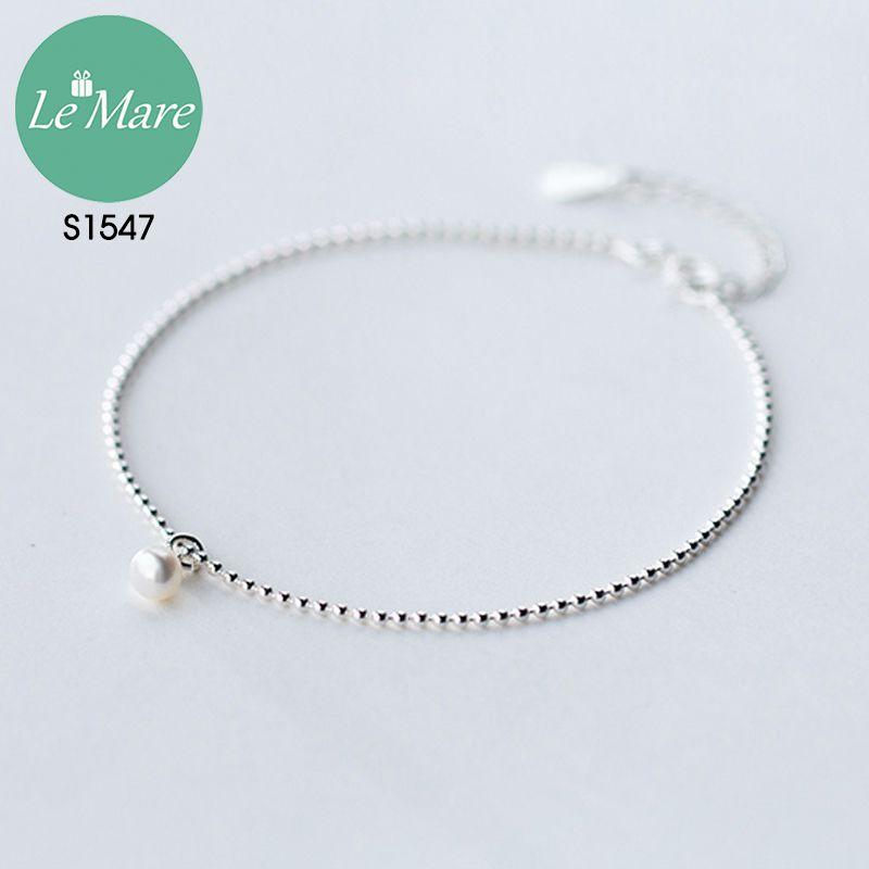 Lắc chân bạc thời trang Đốt bi nhỏ đính ngọc Le'mare Jewelry S1547 9