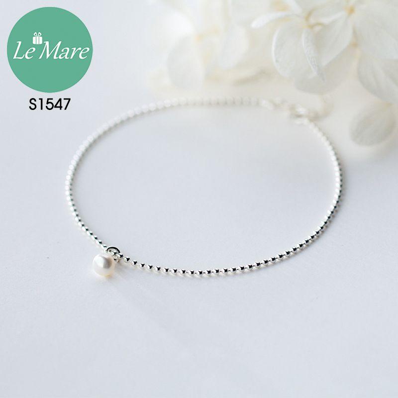 Lắc chân bạc thời trang Đốt bi nhỏ đính ngọc Le'mare Jewelry S1547 10