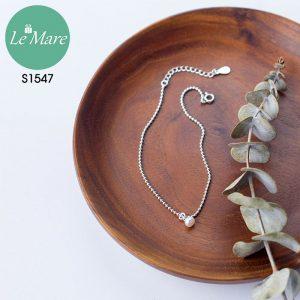 Lắc chân bạc thời trang Đốt bi nhỏ đính ngọc Le'mare Jewelry S1547 7