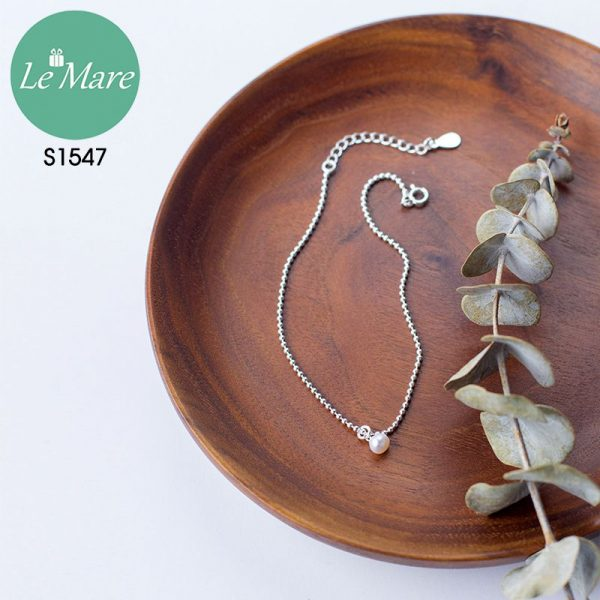 Lắc chân bạc thời trang Đốt bi nhỏ đính ngọc Le'mare Jewelry S1547 4