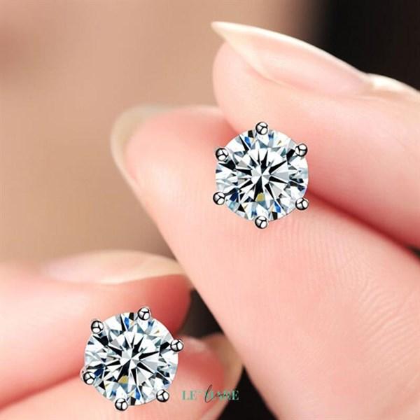 Khuyên tai bạc kim cương nhân tạo SE0012 2