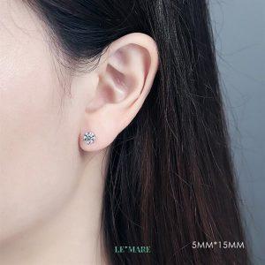 Khuyên tai bạc kim cương nhân tạo SE0012 9
